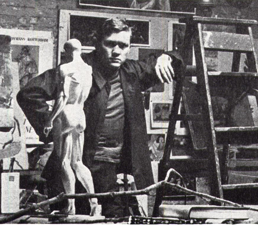 William Smith in his studio on Coeties Slip in Manhattan.  c. 1951