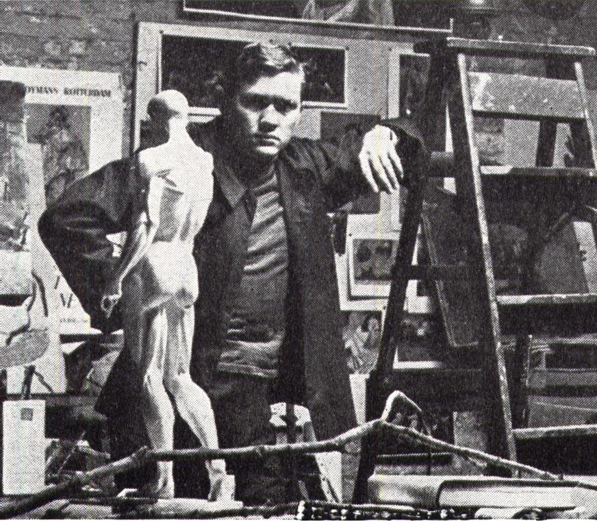 William Smith in his studio on Coeties Slip in Manhattan.  c. 1951